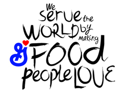 we serve the world by making food people love graphic with General Mills logo